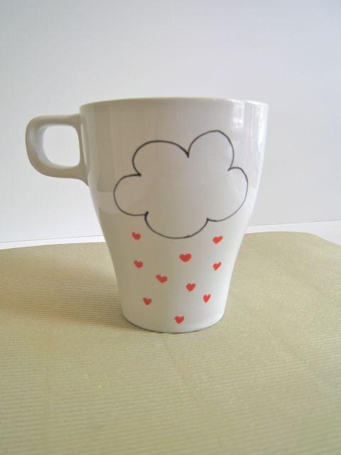 Je chope de la pluie de coeur café par SquackDoodle sur Etsy