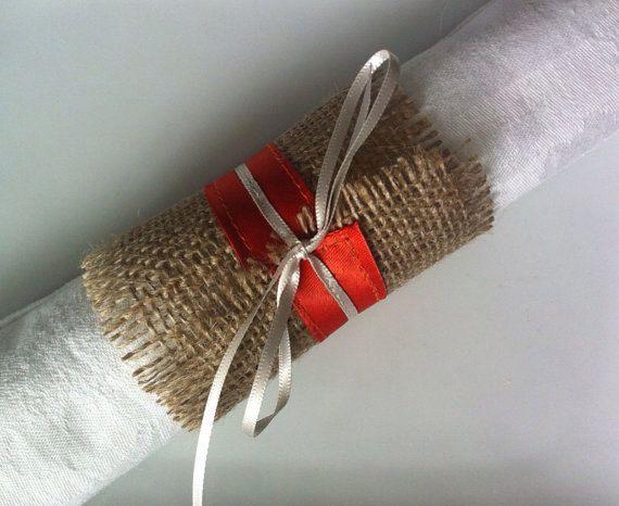 Burlap wedding serviette holders orange and by BaloolahBridal, $8.00