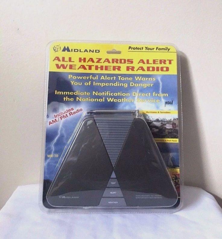 Midland All Hazards Alert Black AM FM Portable Weather Radio WR10 #Midland