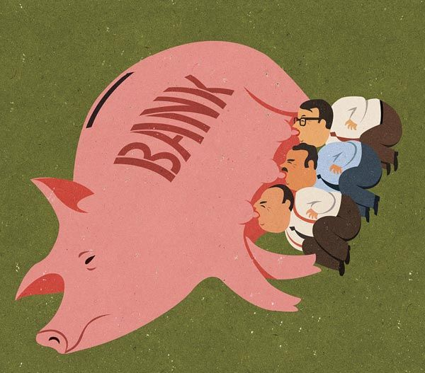 Greedy Bankers - Editorial Illustration by John Holcroft