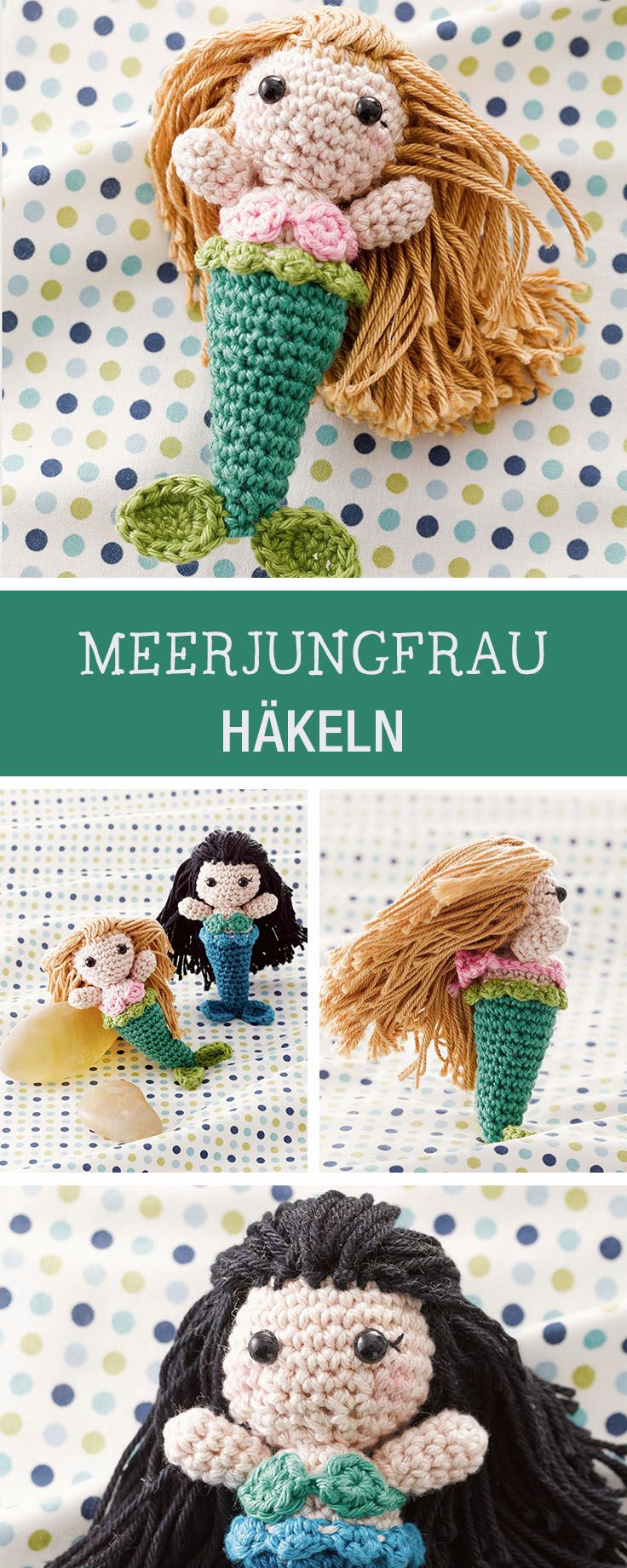 Süße Häkelanleitung für eine Amigurumi Meerjungfrau / diy amigurumi: how to crochet a little mermaid via DaWanda.com