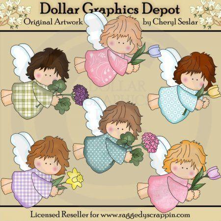 Tiny Angels Love Flowers - Clip Art