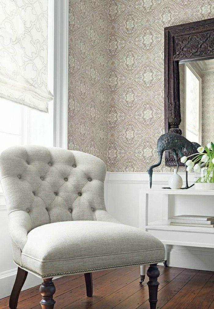 Wohnzimmer Tapeten Ideen Stilvolle Die Zum Raffrollo Passen