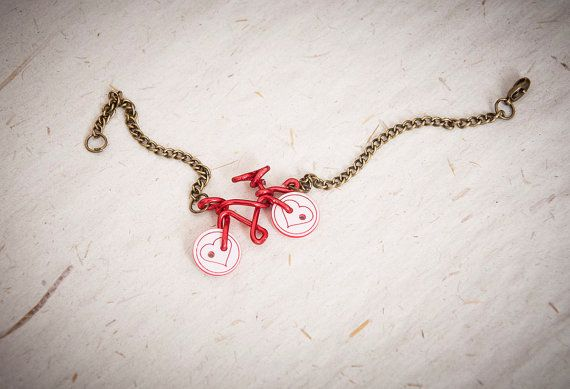 Bracelet with wire bicycle bronzed chain by SilviaWithLove on Etsy