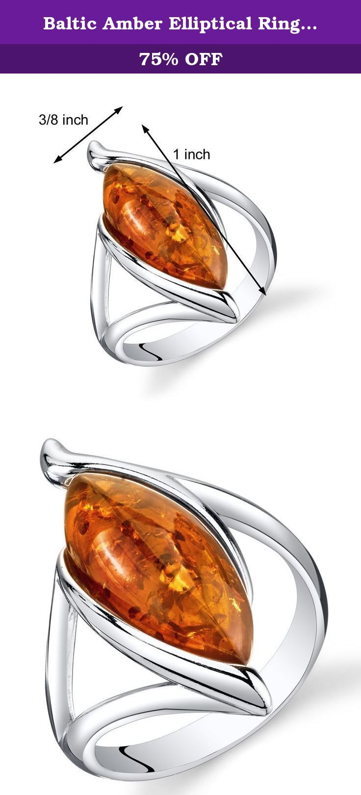 Baltic Amber Elliptical Ring Sterling Silver Cognac Color Marquise Shape Size 9. Genuine Baltic Amber, Rich Cognac Color, large marquise shape. Ring: 3 grams pure 925 sterling silver, Available in sizes 5 to 9. Ring features exceptional design, craftsmanship and finishing. Perfect gift for Mothers Day, Birthdays, Valentines Day, Graduation, Christmas or just about any other occasion. Money Back Guarantee. Includes a Signature Gift Box. Style SR11318.