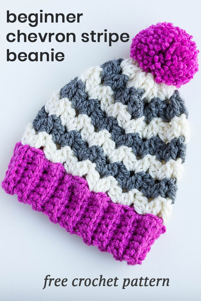Crochet beginner chevron stripe beanie hat is so easy to make! And what a fun winter accessory that works up fast - free crochet patten on my blog!