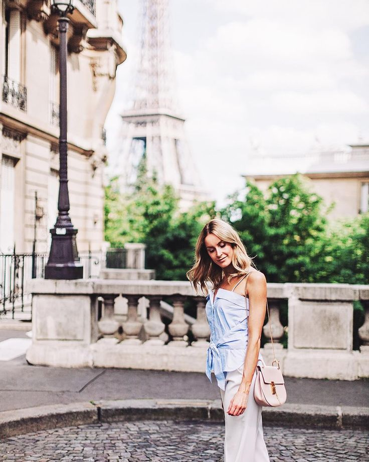 """Paris mon amour"" - Gotta love this simple summer outfit with a baby blue top and high-waisted trousers - Anna, Arctic Vanilla blog."