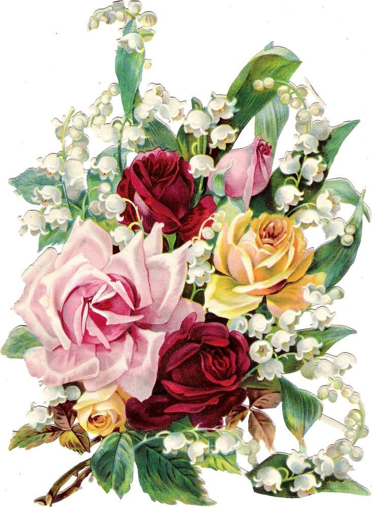 Oblaten Glanzbild scrap die cut chromo Blumen strauß XL 24cm bouquet rose muguet