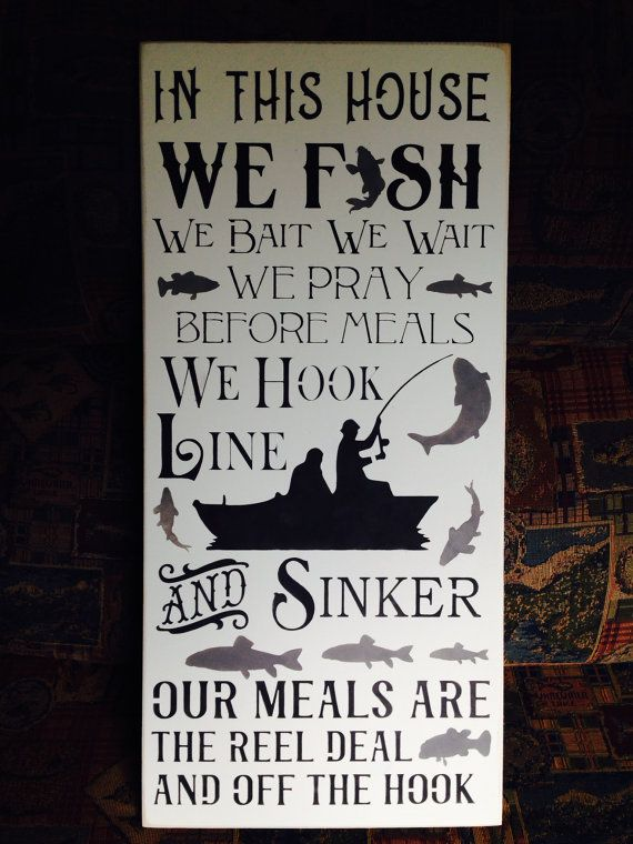In This House We Fish Hand Painted Wood Sign Fishing Hook Line Sinker Home Decor Man Cave