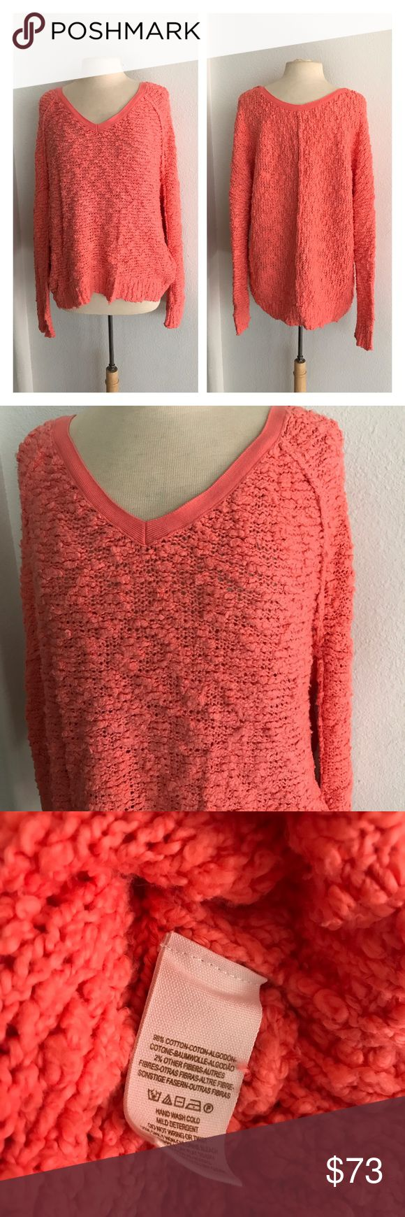 "Free People coral sweater Free People sweater. Size M. Measures 27"" long with a 44"" bust. Coral colored. Popcorn texture. Very very soft! Super stretchy.  ⭐️Brand new with tags ($98) 💲Reasonable offers accepted  ✅Bundle offers Free People Sweaters"