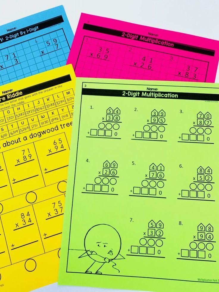 2Digit Multiplication Pack Upper elementary math