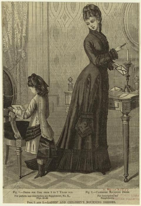 """""""Ladies' and children's mourning dresses. (1877)""""  *Even a mourning dress had a pocket. Hmmm...*"""