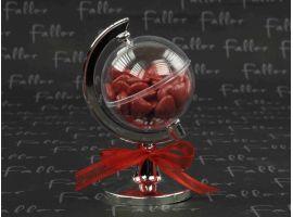 Dragées Mariage - Dragées mariage rouge coeur et globe terrestre plastique