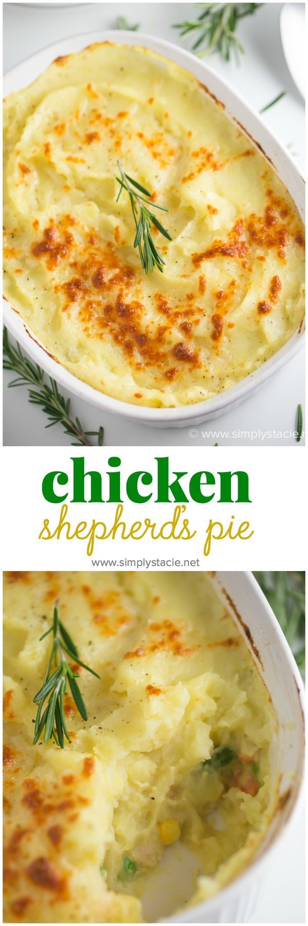 Chicken Shepherd's Pie: Not your mama's Shepherd Pie! This version is made with a creamy curry sauce that is out of this world. Topped with a heavenly layer of mashed potatoes and Parmesan cheese, this comfort food recipe will not last long. Mmm good.