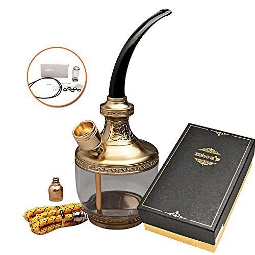 ZOBO classical Engraving Flower hookah dual filter tobacco pipe Cigarette Holder