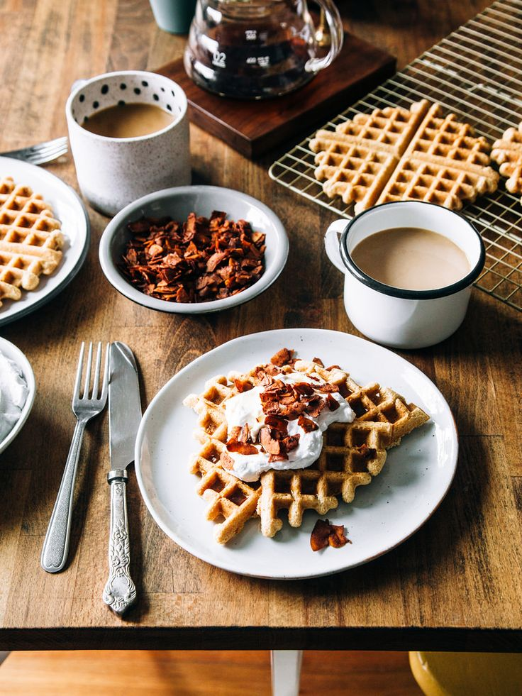 gluten free maple waffles with coconut whipped cream + coconut bacon # ...