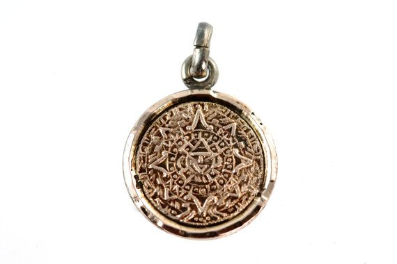 Mexican aztec calendar pendant charm 10k gold sterling silver