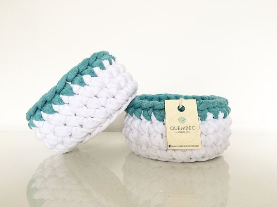 Set of 2 mini crochet WHITE baskets-aquamarine | crochet baskets | crochet bowls
