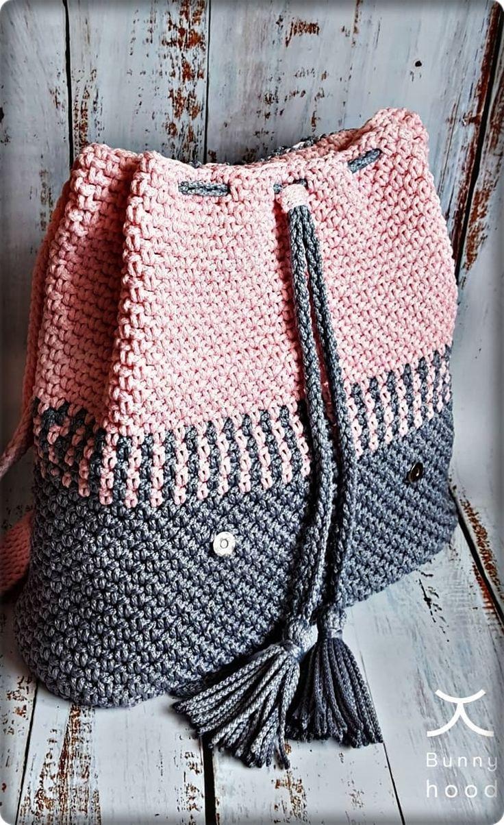 2019 marzo Crochet Bag Pattern Ideas. Nuevo bolso de mujer de moda en color gris y rosa.