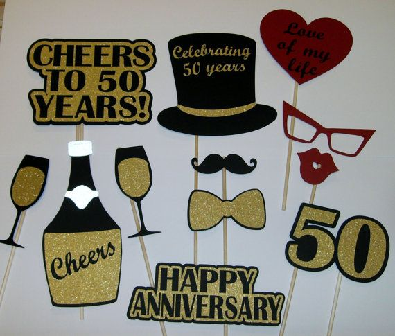50th Anniversary Photo Prop / Golden Anniversary/ Cheers / Champaigne (2172D)