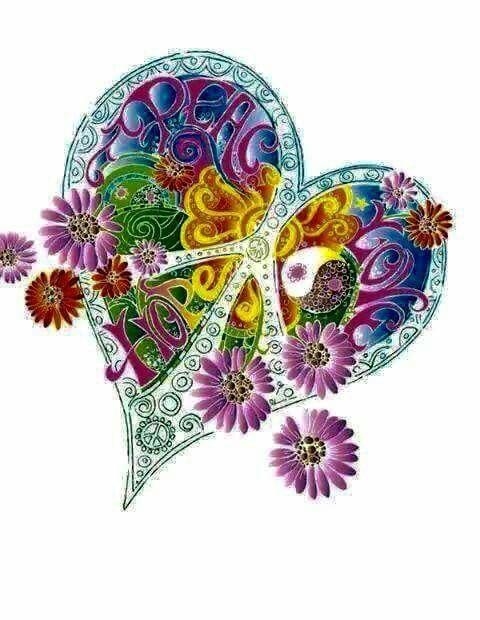 American Hippie Art....Peace Heart                                                                                                                                                                                 More