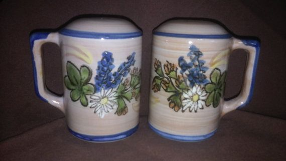 LOUISVILLE STONEWARE, Salt and Pepper, Shakers, Hand Painted, Blue Floral, Mug…