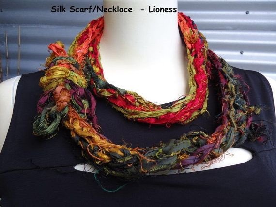 Crocheted Silk Necklace or scarf - depending on how you wear it  available to purchase via etsy