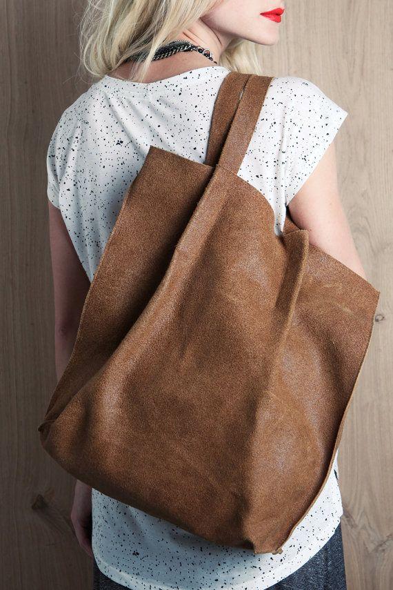 Brown leather tote bag, shoulder bag, shopping bag, minimalist bag, big sack handbag, urban bag with inner pocket for women, gift for her. $249.00, via Etsy.