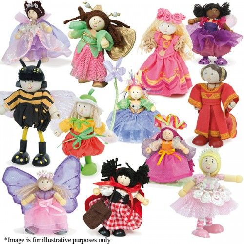 This pack contains an assorted collection of cute little wooden Budkin dolls, each with their own personality, inspired by fairytale characters.  Budkins fit perfectly with the Le Toy Van Dollhouses, Fairyland, Castles, Farmyards and more.  Please note that the exact characters received may differ from those shown in the picture.