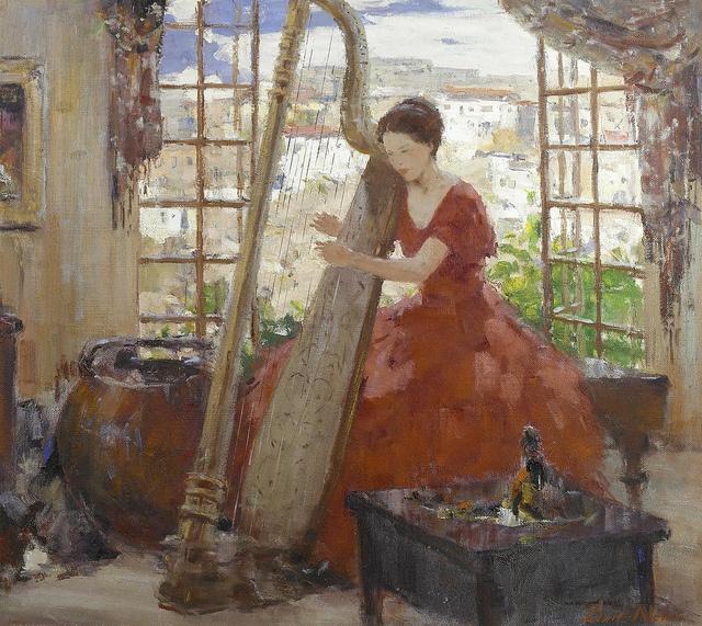 Burt Procter  The harpist. American, 1901-1980