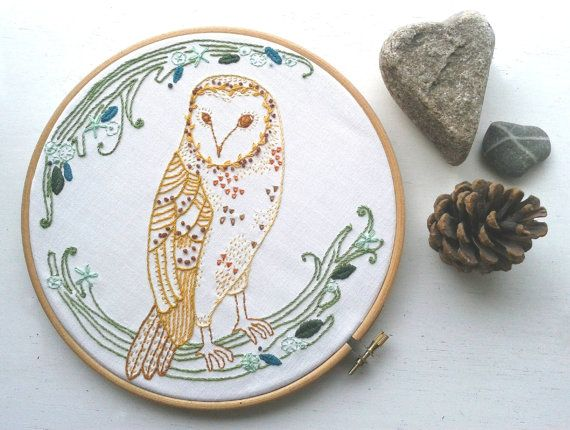 Barn Owl embroidery pattern pdf . DIY wall art. Needlework. Applique design. Woodland animal.Hand embroidery.Home decor.Embroidery Wall art