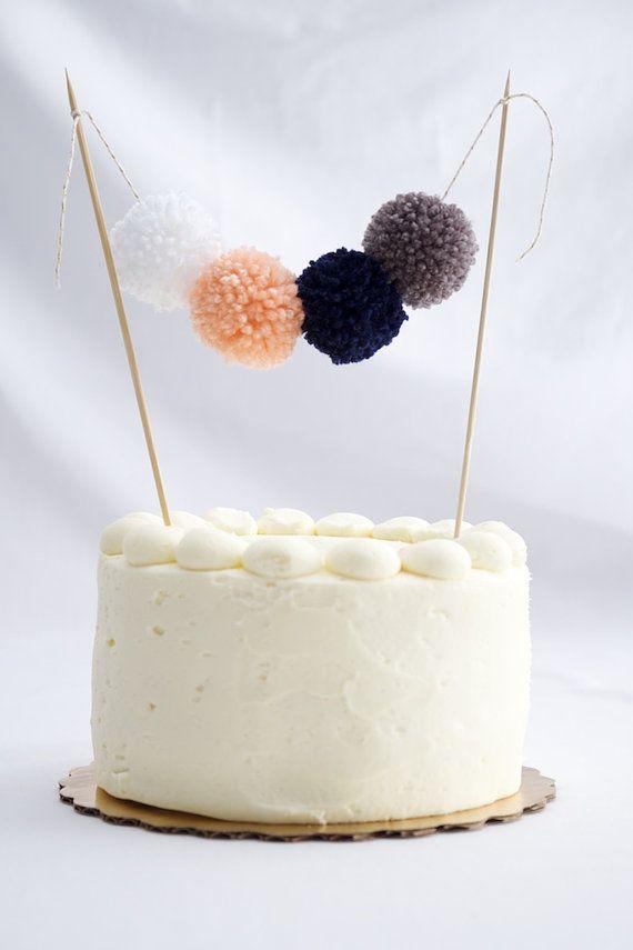 Festive cake topper, pom pom cake garland, mini yarn pom pom cake banner, white, peach, navy and grey cake bunting