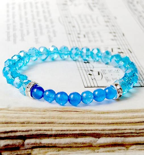 Blue Jade & Rondelle Bracelet / Elastický náramok s modrým jadeitom a rondelkami