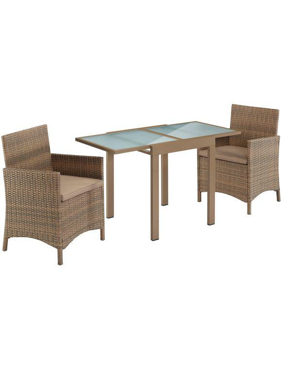 Merxx Gartenmobelset Treviso Premium 5 Tlg 2 Sessel Tisch 65 130 Polyrattan Inkl Auflagen Gartenmobel Aussenmobel Mobel