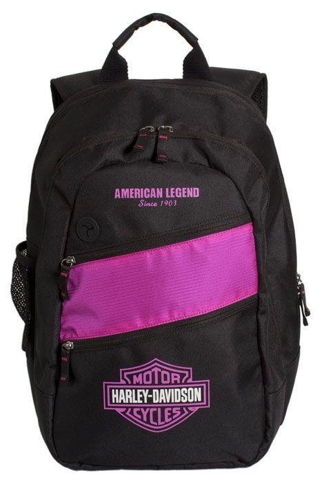 Harley-Davidson® Womens B Freedom Back Pack with Fuchsia Stripe Black Nylon