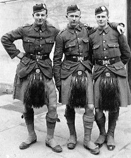 Old photograph of three young soldiers in St Andrews, Fife, Scotland
