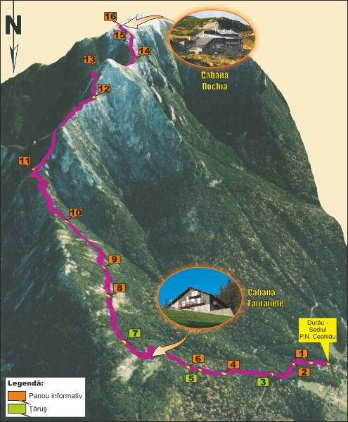 Traseul tematic: Durău - Cabana Fântânele - Cabana Dochia
