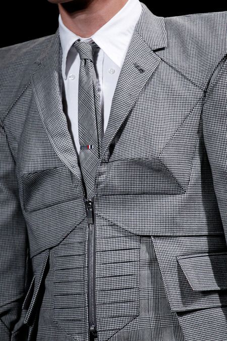 Innovative Pattern Cutting with 3D faceted structure; creative sewing; geometric fashion detail // Thom Browne Spring 2015