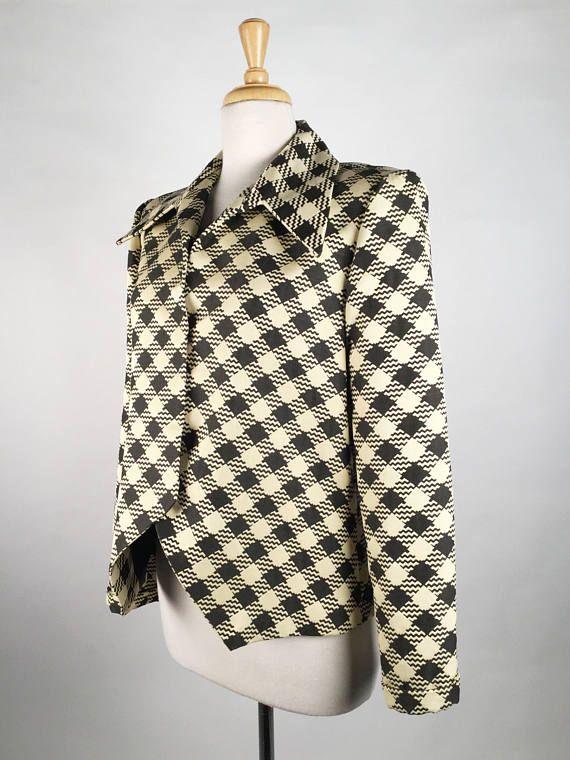Vintage 90s Pauline Trigere Black and Cream Jacket Wide