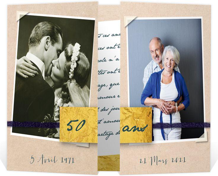 Invitation anniversaire de mariage pour se rappeler en images de vos 50 ans passés ensembles, ref N70153