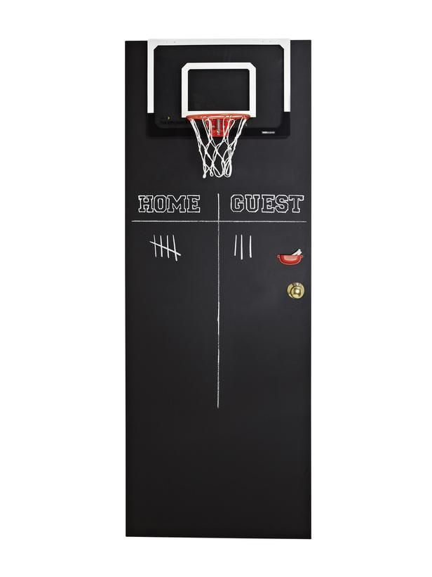 Chalkboard paint the back of a kid's door, hang a basketball hoop and let them have fun! #hgtvmagazine http://www.hgtv.com/kids-rooms/4-ways-to-decorate-a-door-for-a-kids-room/pictures/page-3.html?soc=pinterest
