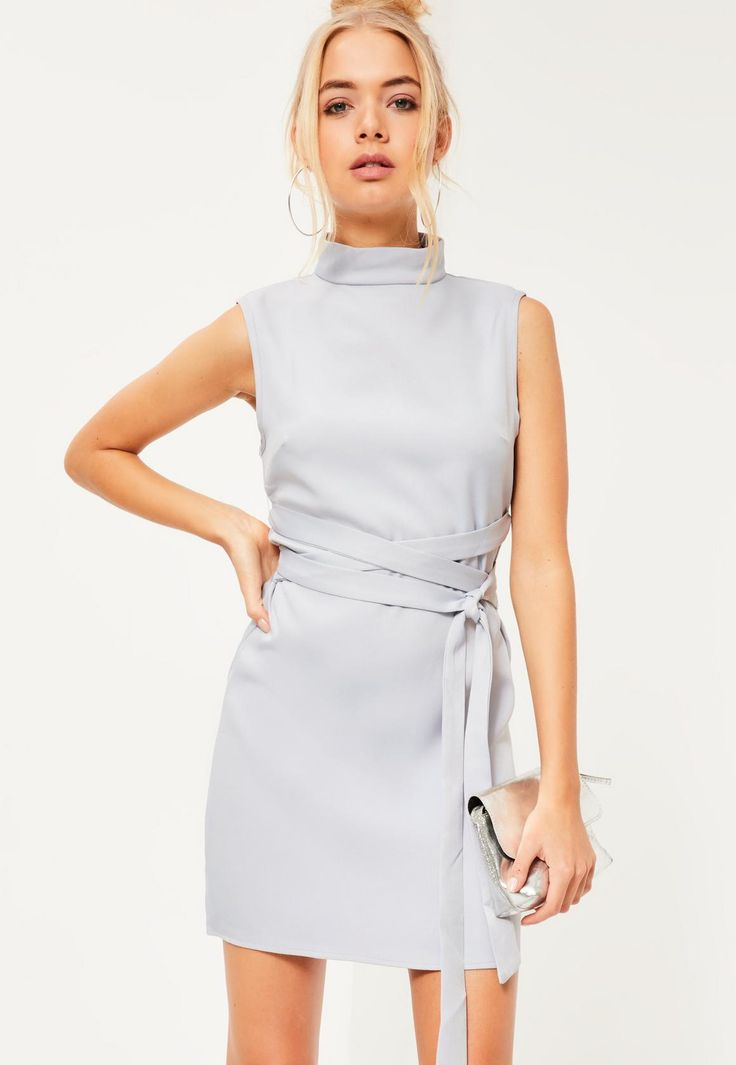 High Neck Tie Waist Shift Dress Grey - Missguided