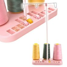 Pink ABS Plastic Metal Strip Adjustable 3 Embroidery Thread Spool Holder Stand Sew Quilting For Home Sewing Machine(China (Mainland))
