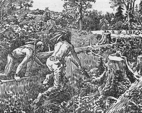 """Iroquois warriors lurking near French settlements during the 1650s - """"Until the 1660s, especially in the Montreal area, no one in the French settlements really felt quite safe from surprise attacks by hostile Iroquois warriors. Many Canadian settlers, including women, learned to handle firearms during the 1650s."""""""