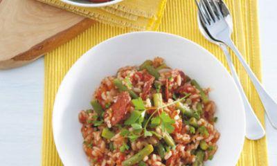 Recept voor rijst met chorizo en sperziebonen