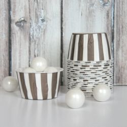 candy cups | brown stipes | shoptomkat.com: Candy Cups, Parties Supplies, Stripes Candy, Parties Shops, Tomkat Studios, Brown Stripes, Studios Shops, Stripes Shoptomkat Com, Studios Parties