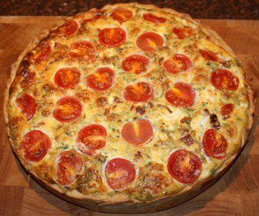 Quiche met geitenkaas en gedroogde tomaatjes