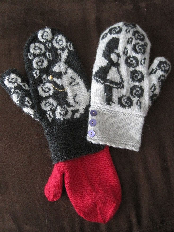Alice in Wonderland Mittens by Jennifer Lang knitting pattern $6.00Canadian on Ravelry at http://www.ravelry.com/patterns/library/alice-in-wonderland-mittens