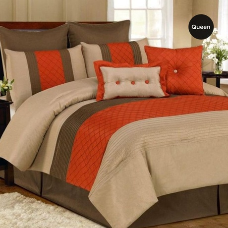 "Queen Oversized Overfilled 8PC Comforter Set - Orange (Retail Price $199.99) ""Our Price is $83.00"" Only at nomorerack.com"