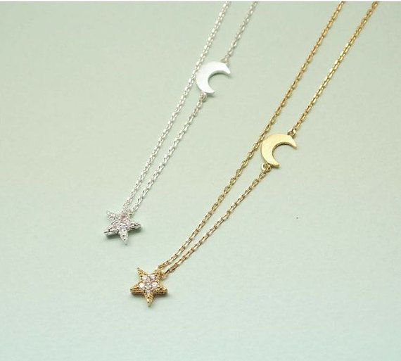 Twinkle Star et Crescent moon Collier or / argent